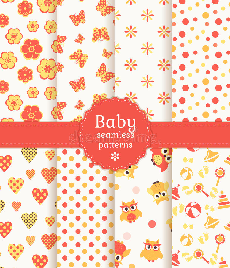 Baby seamless patterns in pastel colors. Vector se stock illustration