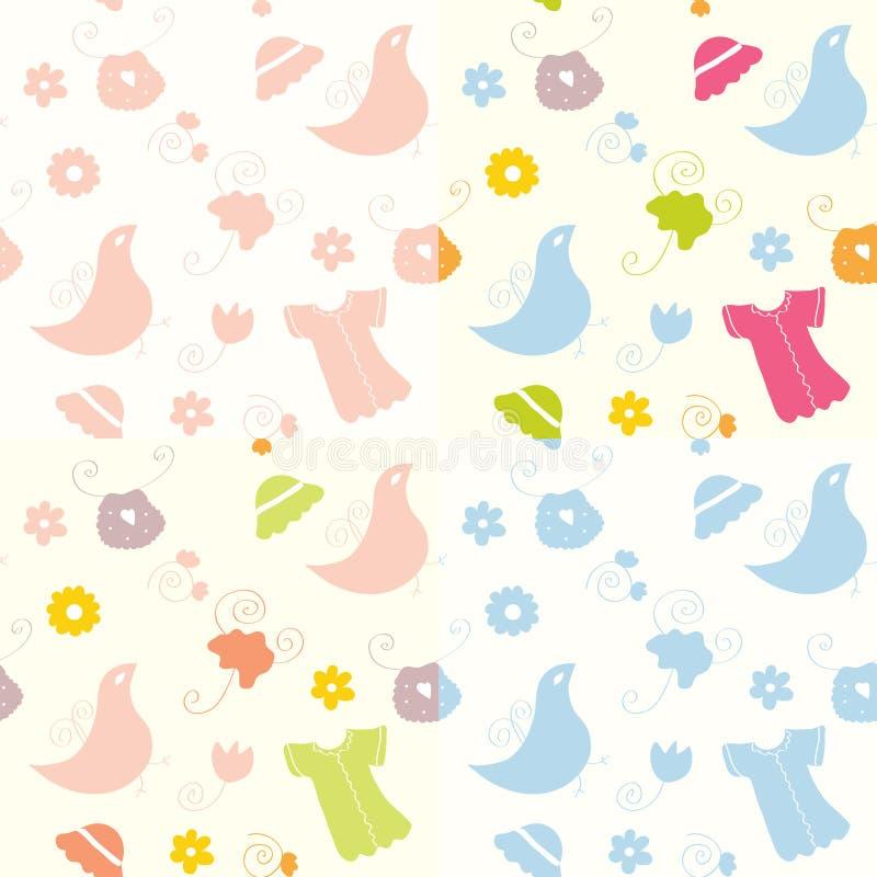 Baby seamless patterns set vector illustration