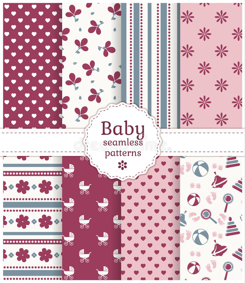 Free Baby Seamless Patterns. Vector Set. Royalty Free Stock Image - 39157206