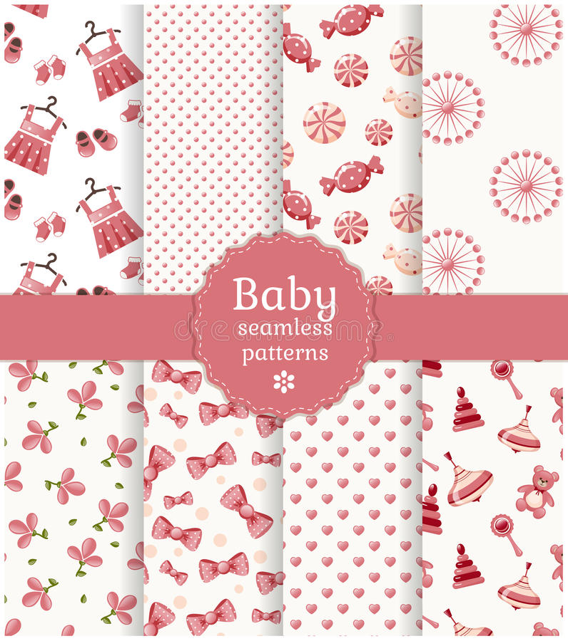 Baby seamless patterns. Vector set. royalty free illustration