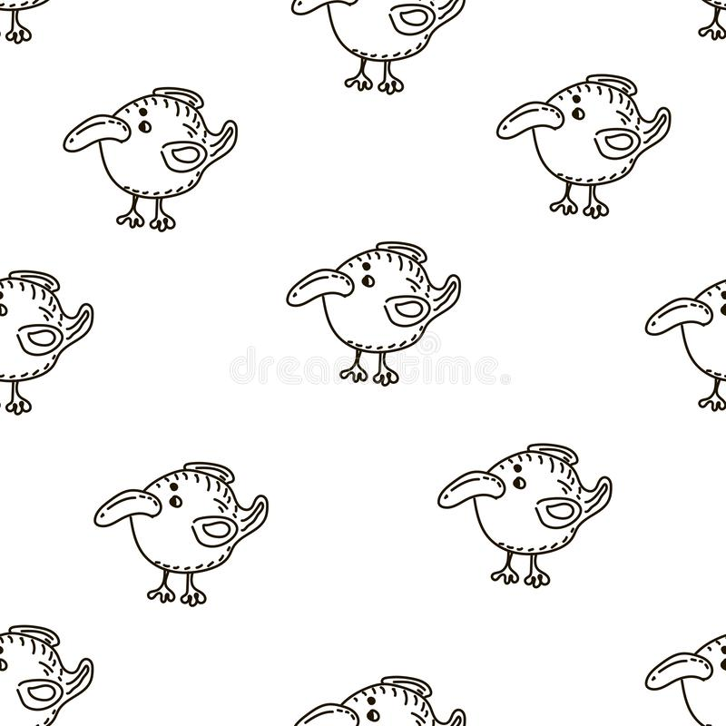 Baby seamless vector pattern. Many little birds on white background. stock illustration