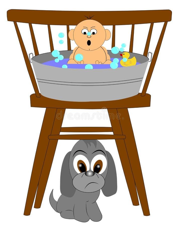 Baby'sen badar först stock illustrationer