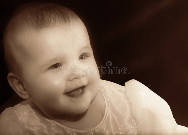 Baby in sepia royalty free stock photos