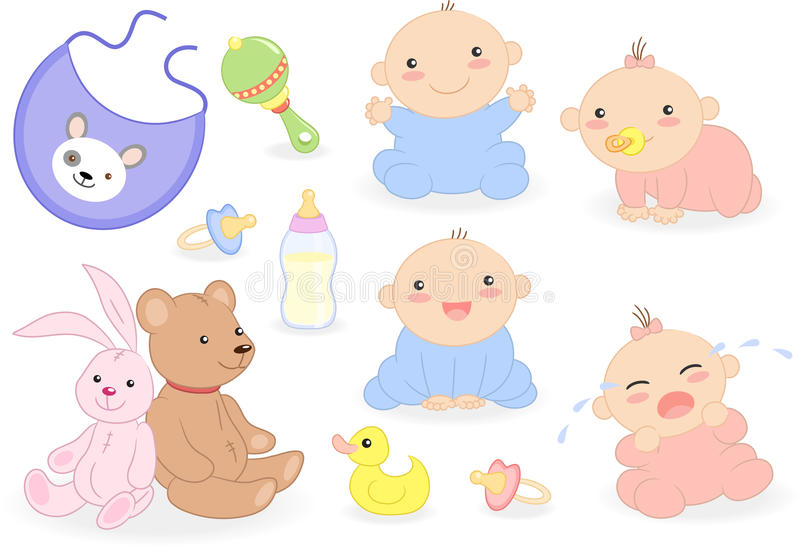 Baby set with babies and accessories. Baby set include in: four babies, toys, rattle, soothers, duck, bib and feeding bottle. Vector illustration vector illustration
