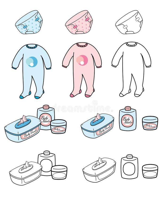 Baby set - nappy, playsuit & toilet stuff royalty free stock photo