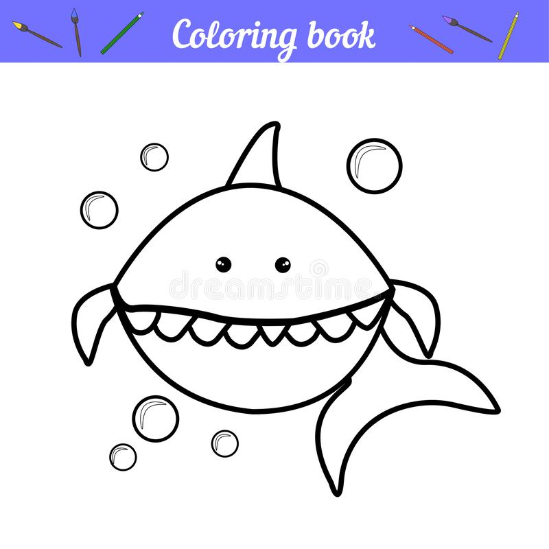 Baby Shark Background Blue Underwater Landscape With Fishes Coral Reefs Huge Rocks And See Weeds Tropical Undersea Stock Vector Illustration Of Cartoon Baby 152335199