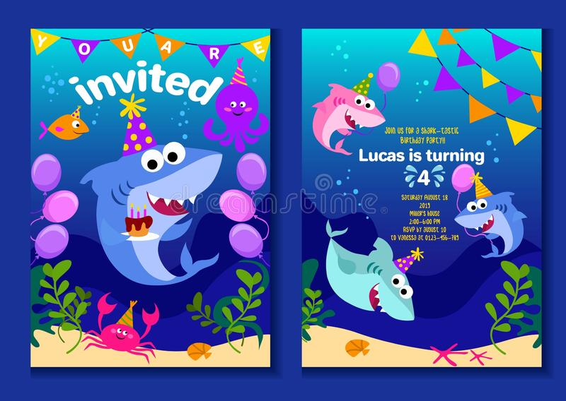 Baby shark party invitation cards. Happy Birthday greeting card in cartoon style with under the sea world animals shark, octopus,. Balloons etc. Colorful kids vector illustration