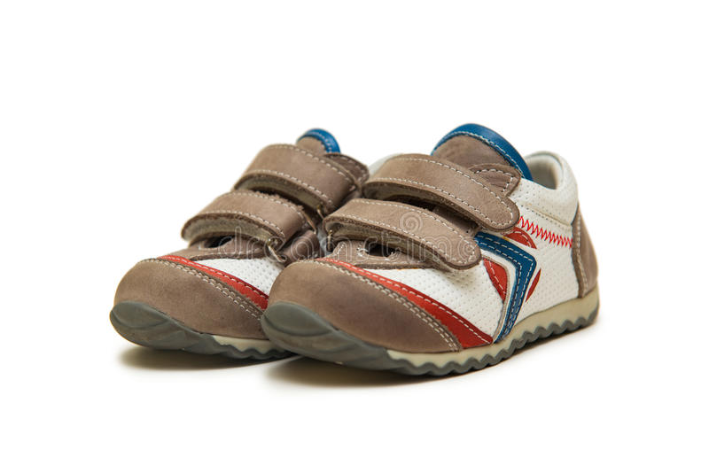 The baby shoes on the white background. Baby shoes on the white background stock images