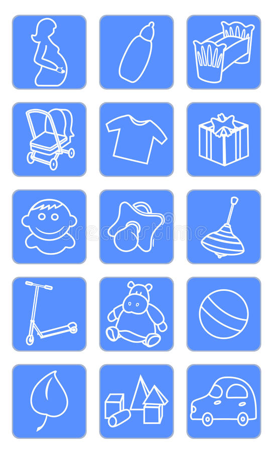 Baby shop icons. Vector illustration of baby icons royalty free illustration