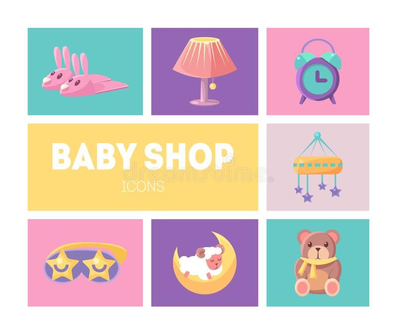 Baby Shop Icons Set, Cute Goods for Babies Design Elements Vector Illustration. Web Design royalty free illustration