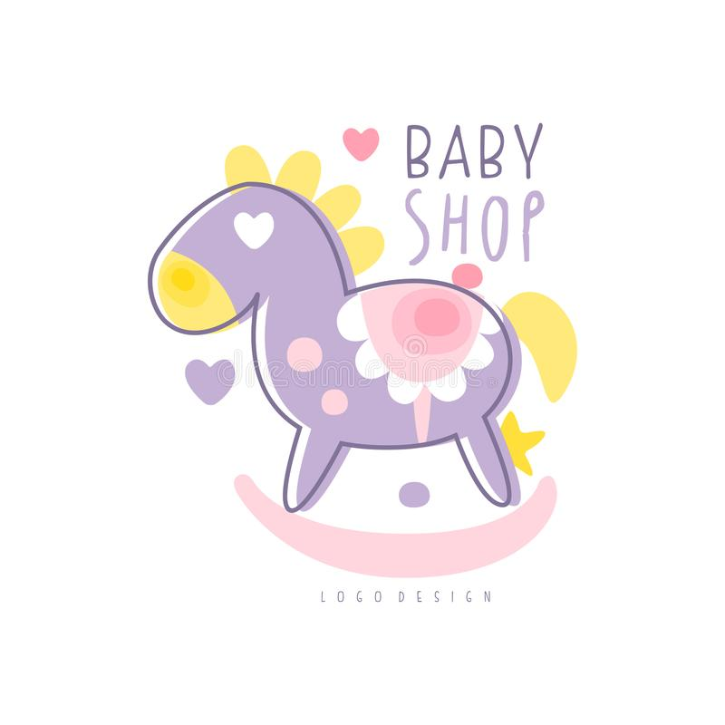 Baby shop logo design, emblem with rocking horse toy, label for baby products store, toys shop and any other children. Projects colorful hand drawn vector stock illustration