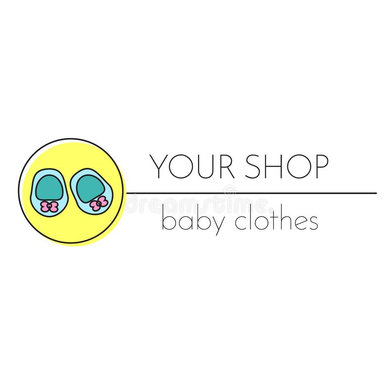 Baby shop logo template. Booties. Sign, label for children and kids center, school and other design. Baby shop logo template. LFashion booties. Sign, label for stock illustration