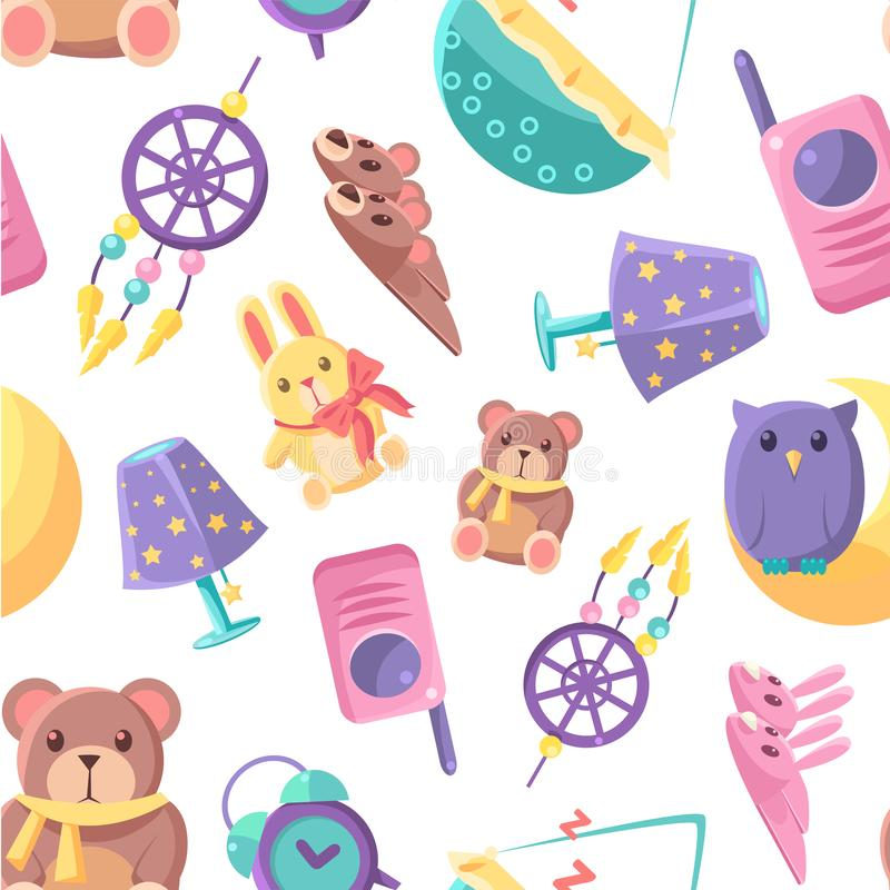 Baby Shop Seamless Pattern with Goods for Babies, Cute Baby Shower Design Element Can Be Used for Fabric, Wallpaper. Packaging, Background Vector Illustration vector illustration