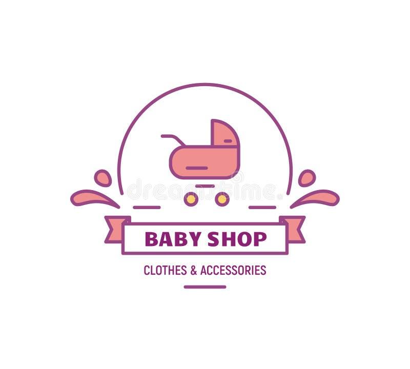 Baby shoppar logo stock illustrationer
