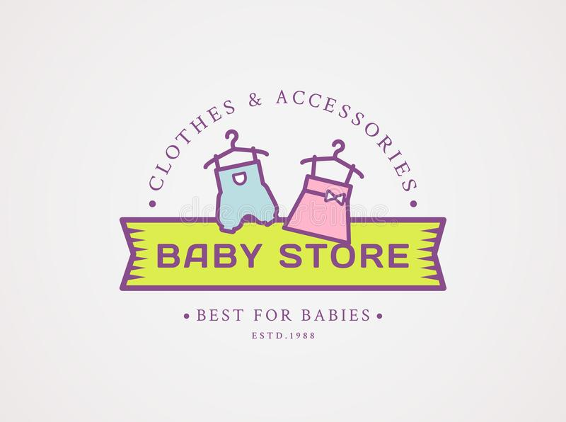 Baby shoppar logo Vektorsymbol med kläder för barn` s vektor illustrationer