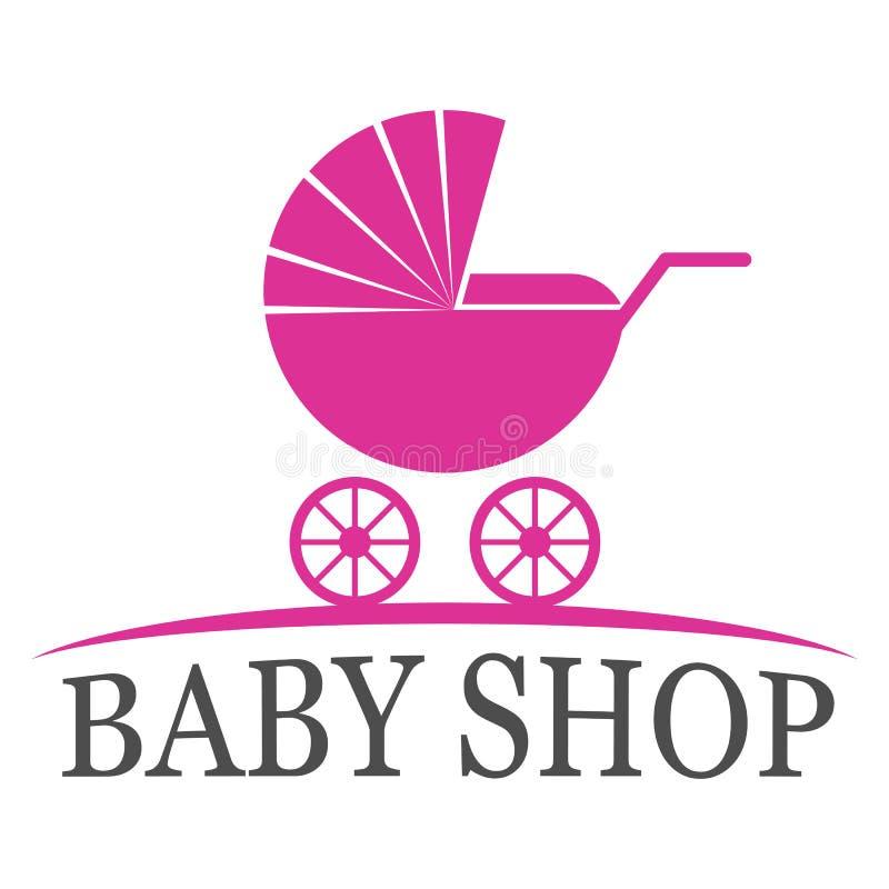 Baby shoppar logodesign royaltyfri illustrationer