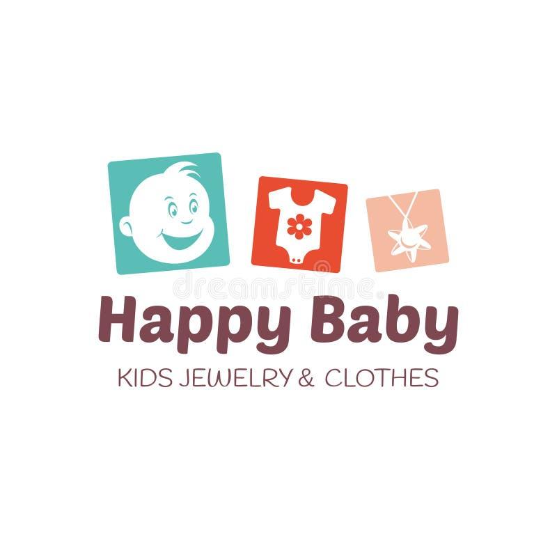 Baby shoppar logovektormallen stock illustrationer