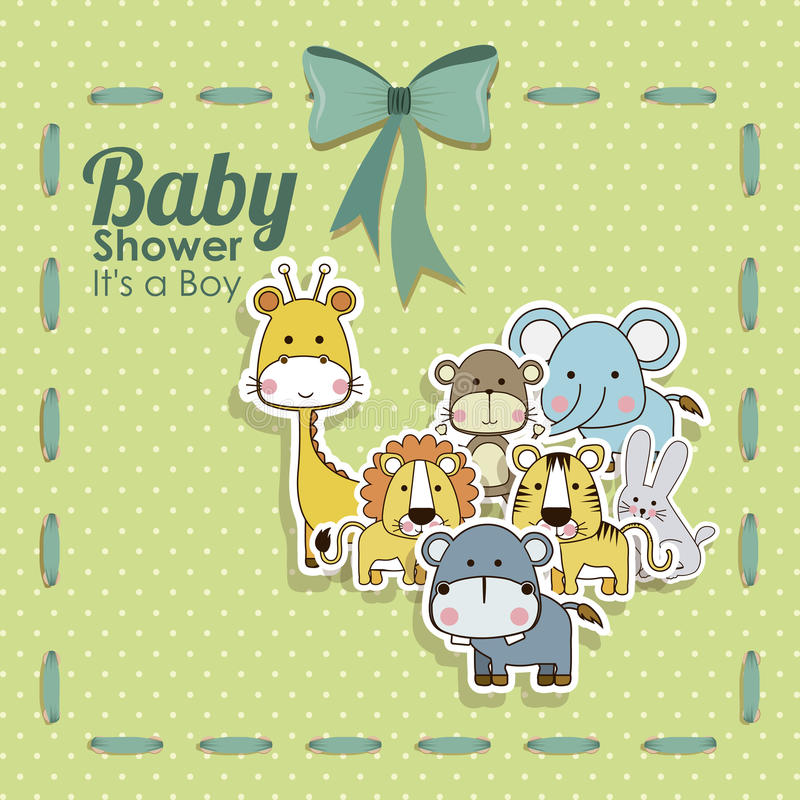 Baby shower animals icons. Over dotted background vector illustration stock illustration