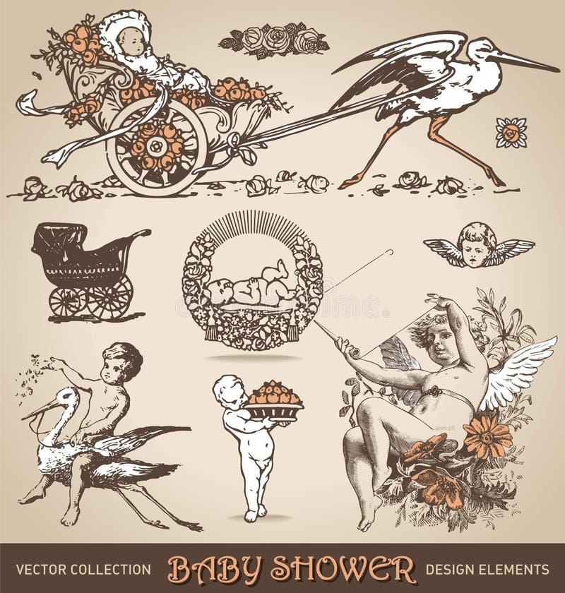 Baby shower antique design elements set (vector) vector illustration
