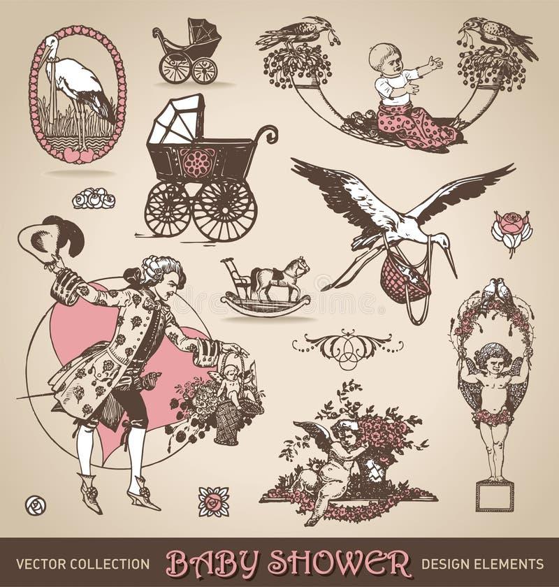 Baby shower antique design elements set (vector) royalty free illustration