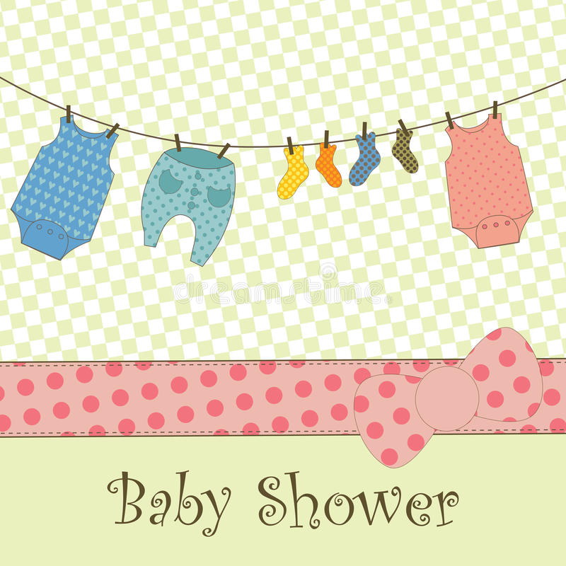 Baby Shower or Arrival Card. A cute card with baby clothes hanging out to dry vector illustration