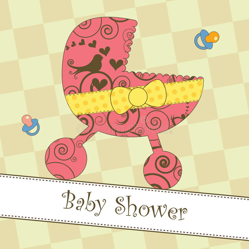 Baby Shower or Arrival Card. Card with a pink stroller royalty free illustration