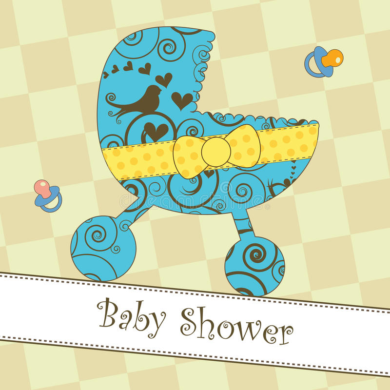 Baby Shower or Arrival Card. Card with a blue stroller royalty free illustration