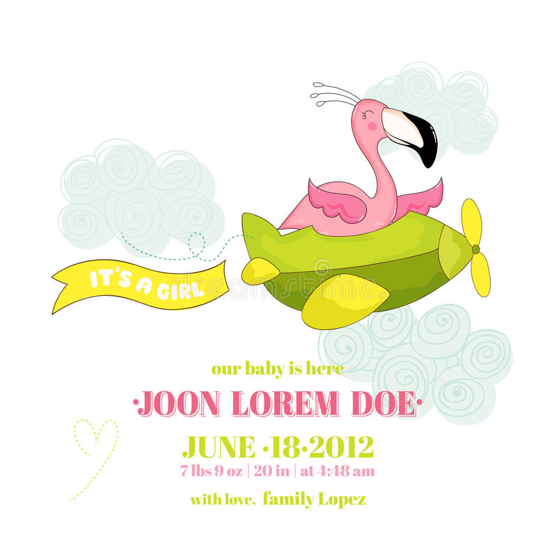 Baby Shower or Arrival Card - Baby Flamingo Girl Flying on a Plane vector illustration