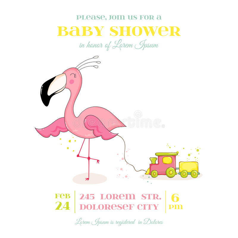 Baby Shower or Arrival Card - Baby Flamingo Girl vector illustration