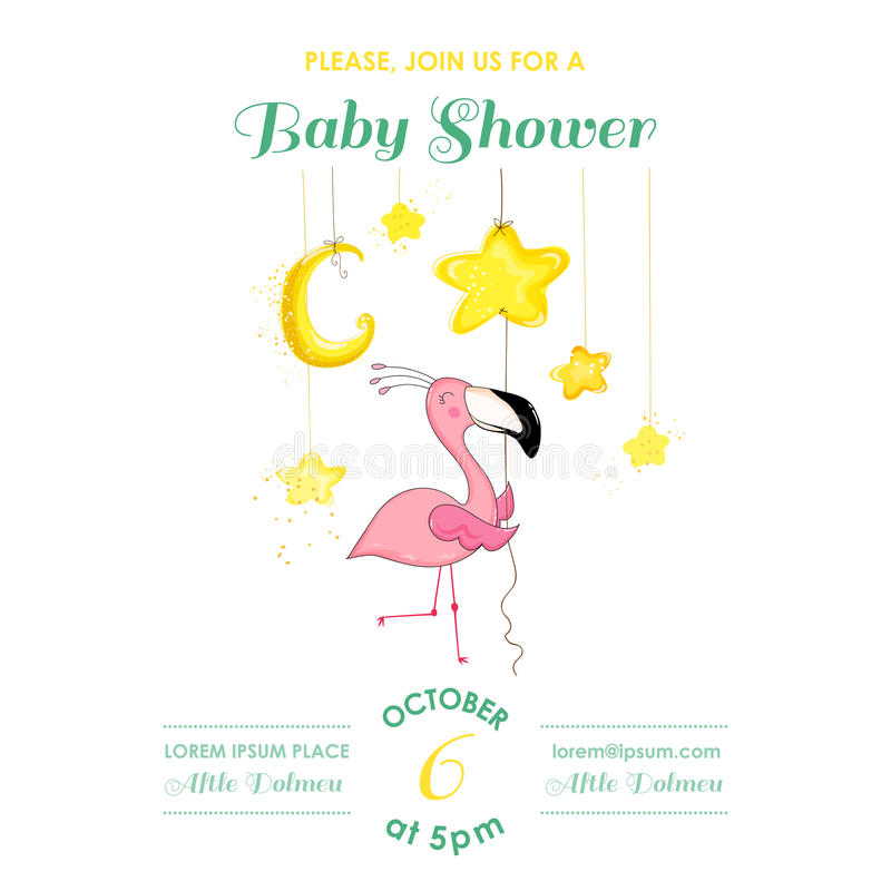 Baby Shower or Arrival Card - Baby Flamingo Girl stock illustration