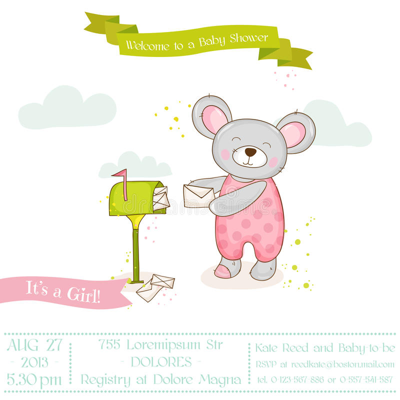 Baby Shower or Arrival Card - Baby Mouse Girl stock illustration