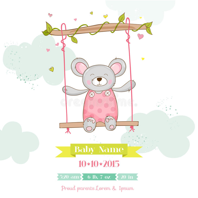 Baby Shower or Arrival Card - Baby Mouse Girl royalty free illustration