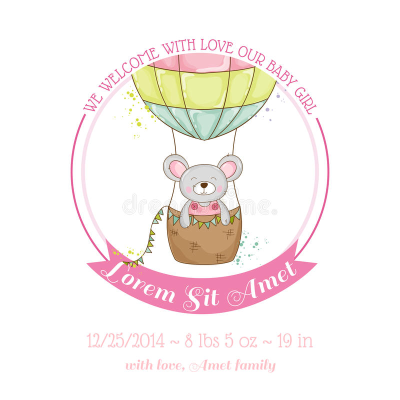 Baby Shower or Arrival Card - Baby Mouse Girl vector illustration