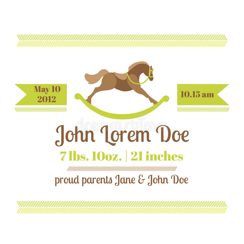 Baby Shower and Arrival Card - Horse Theme. With place for your text - in stock illustration
