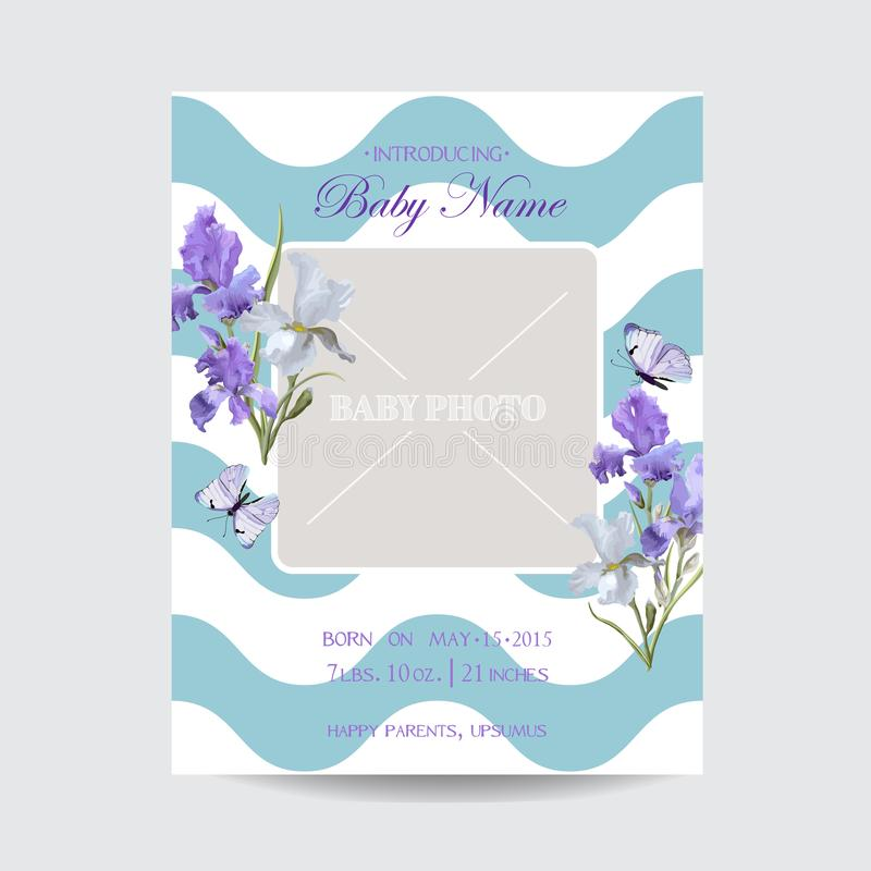 Baby Shower Arrival Card Template with Photo Frame. Floral Invitation with Iris Flowers and Butterflies. Vector illustration stock illustration
