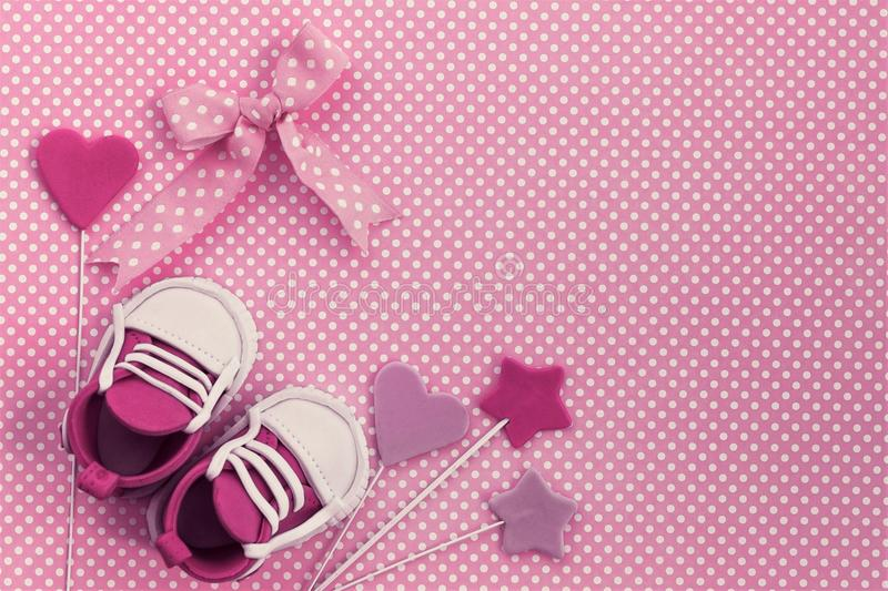 Baby shower background. Newborn invitation. It`s a girl stock photography
