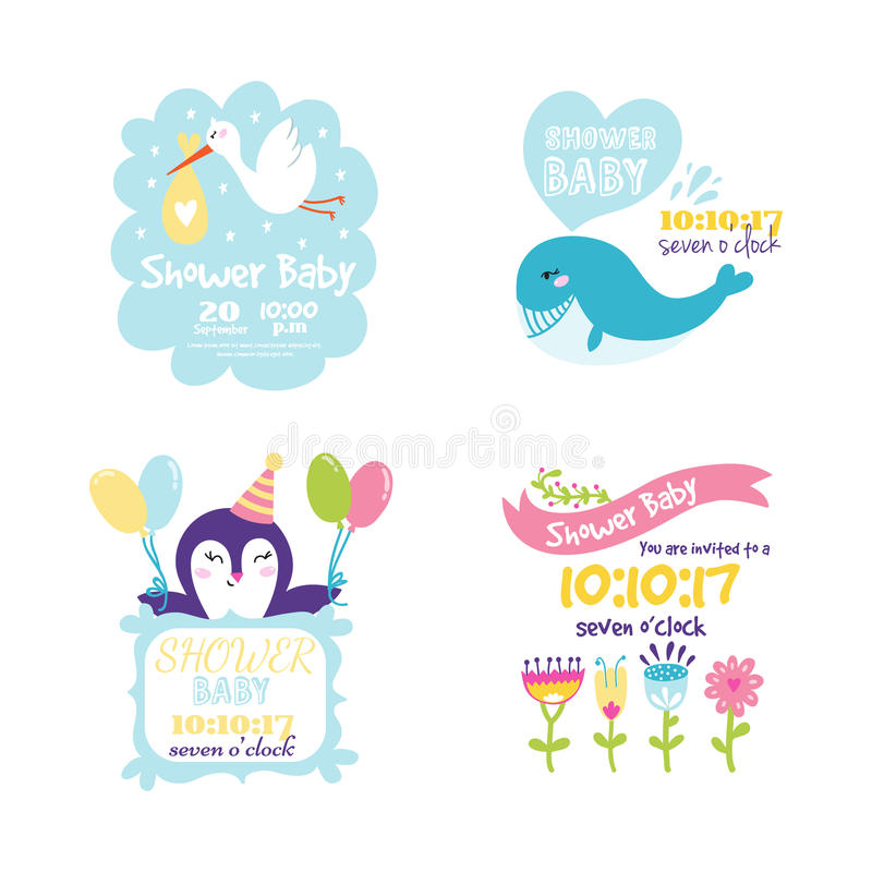 Baby shower badge happy mothers day insignias logotype sticker stamp icon frame and card design doodle vintage hand. Drawn element vector illustration stock illustration