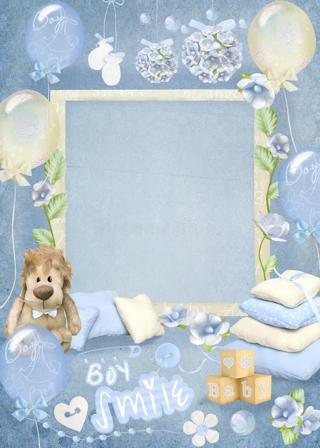 Baby shower banner, blue boys party vector illustration