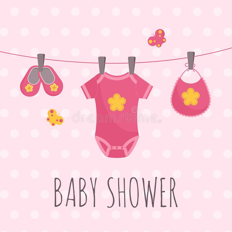 Baby shower banner in flat vector illustration - pink dotted card with babysuit, pair of booties and bib. Baby shower banner in flat vector illustration - pink royalty free illustration