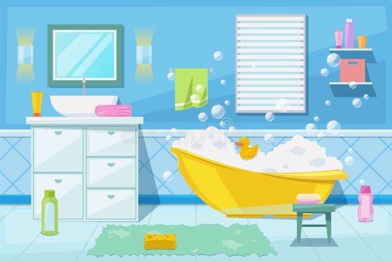 Baby shower and bath room interior, vector cartoon illustration. Bathroom furniture, hygiene goods and design elements. Baby shower and bath room interior royalty free illustration