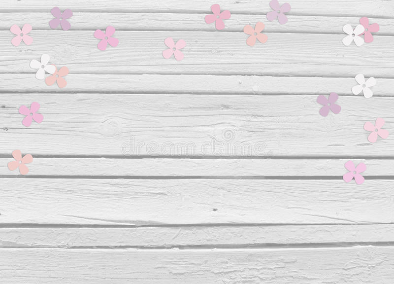 Baby shower, birthday day or wedding mockup scene with white wooden background, floral paper lilac or hydrangea confetti. And empty space, top view royalty free stock images