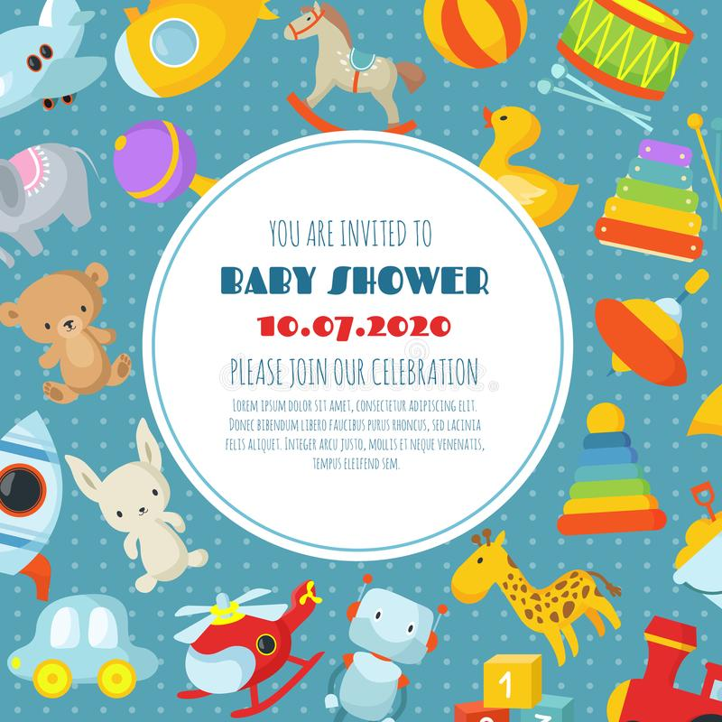 Baby shower, born celebration vector background or invitation card with kids toys vector illustration