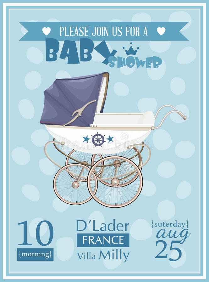 Baby Shower Boy Invitation Template Vector Illustration Stock Vector ...