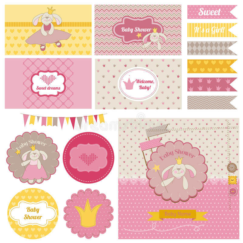 Download Baby Shower Bunny Party Set Stock Vector - Illustration: 41188524