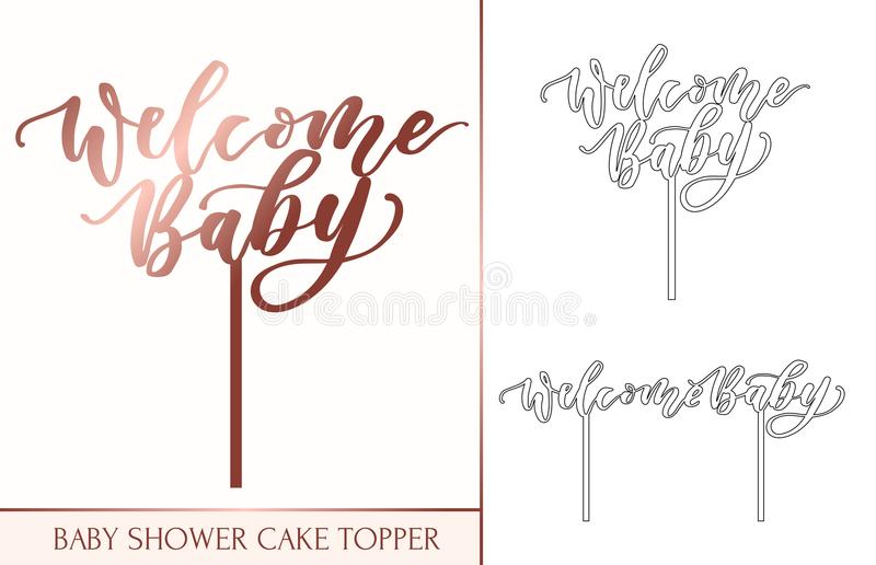 Baby shower cake topper for laser or milling cut. Welcome baby l vector illustration