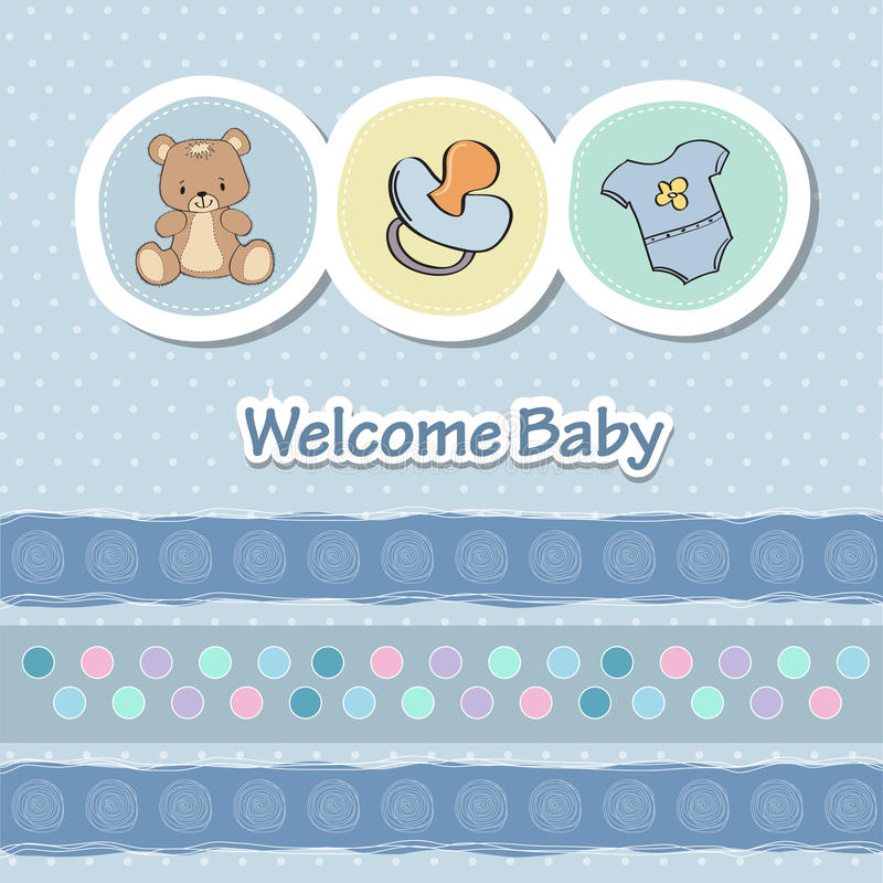 Baby shower card. With funny animals vector illustration