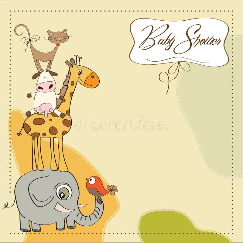 Baby Shower Card With Animals Stock Illustration Illustration Of