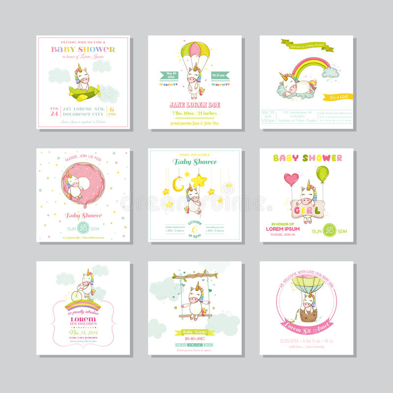 Baby Shower Card. Arrival Baby Card. Baby Unicorn Girl stock illustration