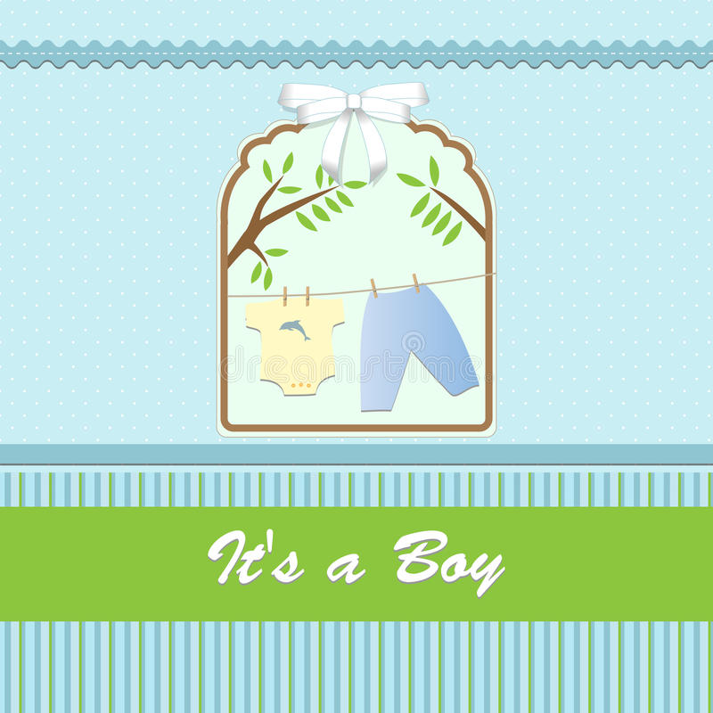 Baby shower card, for baby boy, with clothing and blue-green background stock illustration
