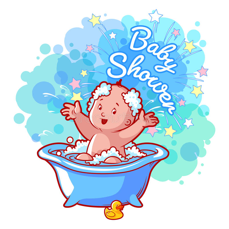 Download Baby Shower Card With Cute Baby Boy In Bath. Stock Vector    Illustration Of